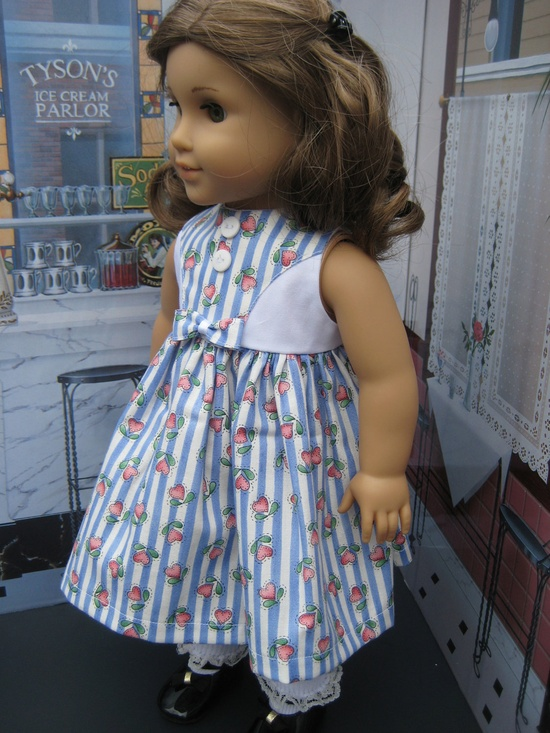 White Sweater and Blue Heart  Stripe Dress 18 inch Doll Clothes American Girl. $33.00, via Etsy.