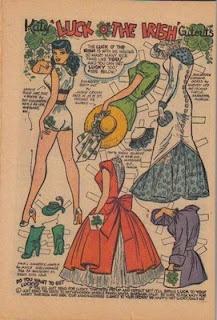 Fabulously festive St. Patrick's Day themed Katy Keene paper doll fashions. #St_Patricks_Day #vintage #paper #dolls #paperdoll #1950s #clothing #fashion #Irish