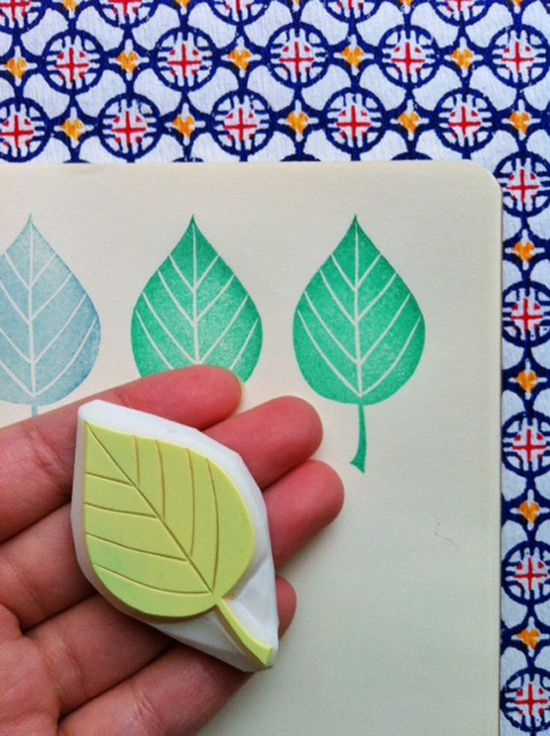 leaf hand carved rubber stamp handmade rubber by talktothesun, $8.00