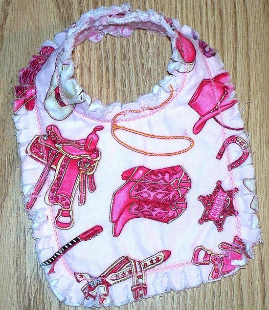 Cowgirl Baby Girl Bib   Reversible Bib / Pink by LittleTexasBabes, $5.00