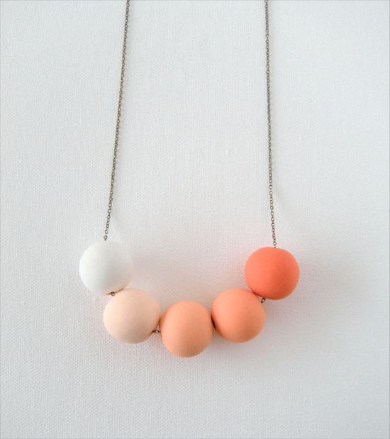 Orange Ombre Beaded Necklace