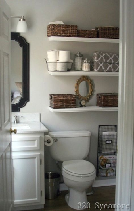 Small Bathroom Ideas - White vanity and shelves and light grey walls