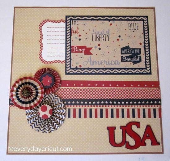 Beautiful USA 4th of July Layout by Joy Tracey! #Cricut