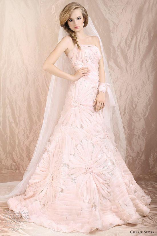 pink flower wedding dress 2012 by   Cherie Sposa Wedding Dresses 2012