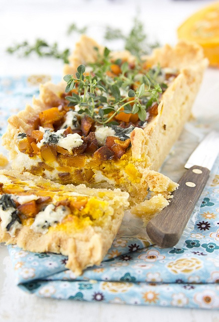 Rustic, autumnal, hearty Blue Cheese and Roasted Pumpkin Pie. #cooking #food #beautiful #baking #autumn #pie #pumpkin #Thanksgiving #vegetables