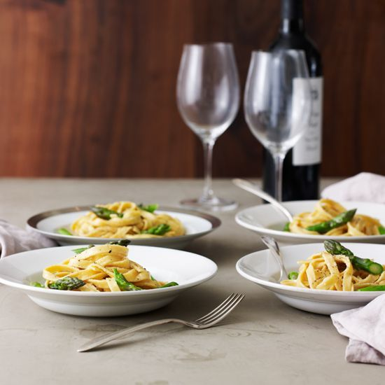 Fettuccine Alfredo with Asparagus // Fast Weekday Pastas: www.foodandwine.c... #foodandwine