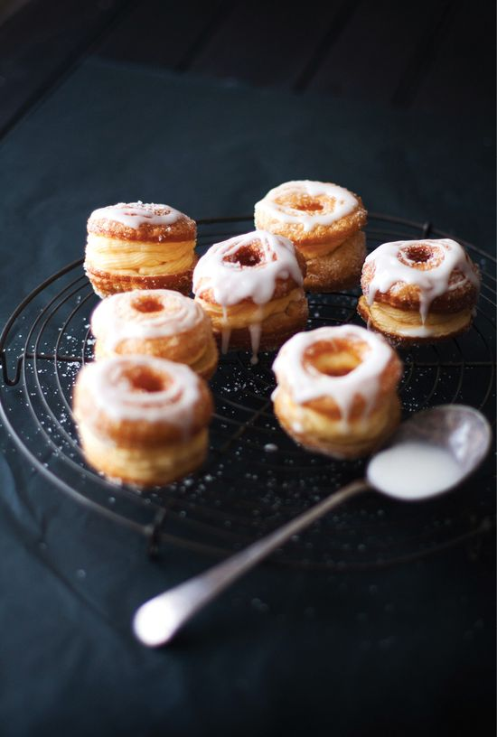 Cheats cronuts (donuts / croissant) with orange-infused  custard and lemon glaze #yum #donut #croissant #lemoncurd