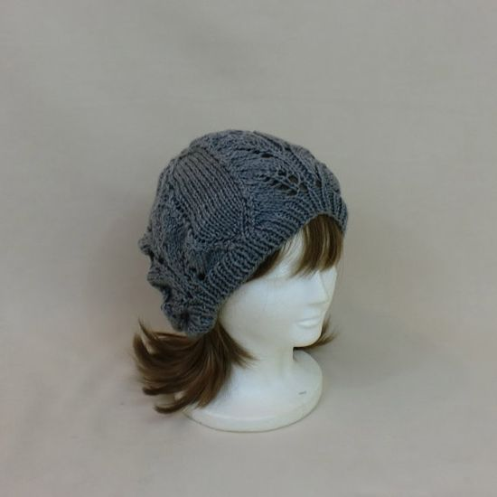 Grey Slouchy Beanie Lace Hat Baggy Knit Large by AllThingsTangled, $25.00