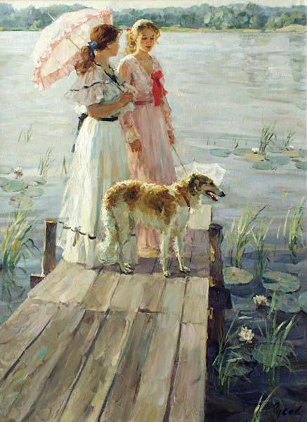 On the small bridge - Vladimir Gusev      and Borzoi