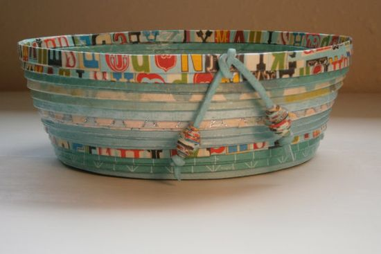 Coiled Paper Basket / Bowl  Teal Handmade Small by BlueTangDesigns, $15.00