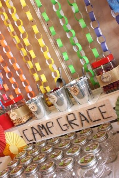 CUTE BACKDROP IDEA for a party! Camp Arts and Crafts Rainbow Party via Karas Party Ideas