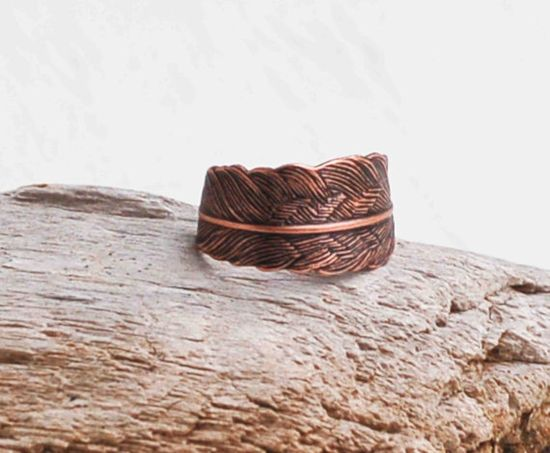 Copper FEATHER Ring Romantic Vintage Style by redtruckdesigns