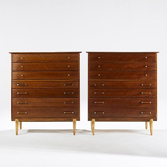 Renzo Rutilli; Walnut, Birch, Brass and Chromed Steel Dressers for Johnson Furniture, 1950s.