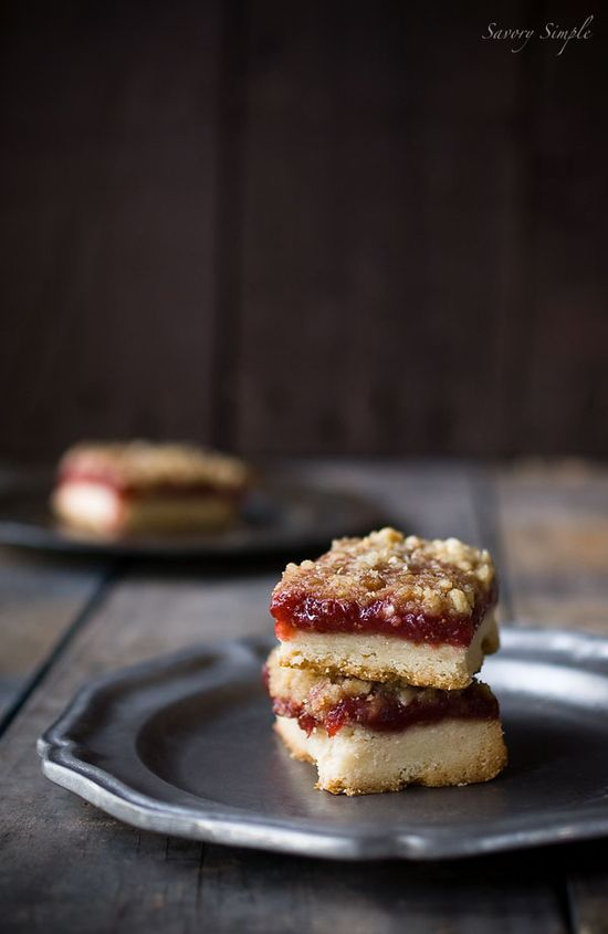 Strawberry Vanilla Jam Crumb Bars - Savory Simple
