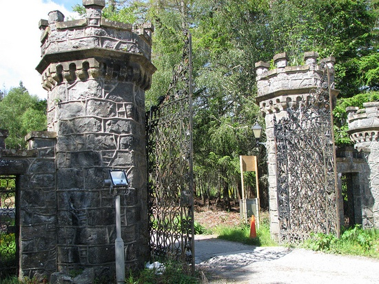 Entrance Pillars To CARBISDALE CASTLE ('Castle Spite'), Ross & Cromarty, Scottish Highlands, UK