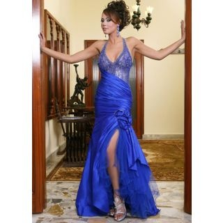 Blue Net V-neck Pleated A-line Celebrity Wedding Dresses