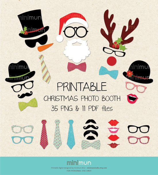 Christmas Photo Booth. Christmas Party Printables. 35 Digital Images Moustaches, Lips, Snowman, Santa Clause. DIY Printable Design