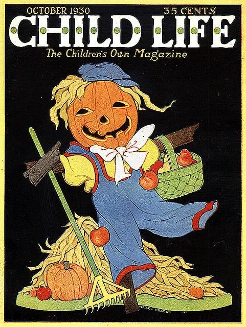 Jolly JOL Scarecrow-Vintage Halloween Child Life Magazine Cover