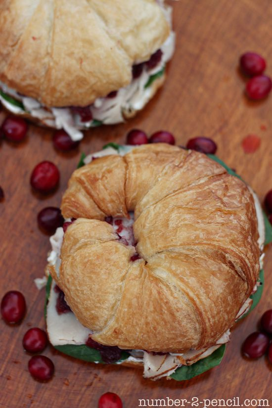 "Gourmet Cranberry Turkey Sandwich, with baby spinach and cream cheese - Another good ""after Thanksgiving"" idea."