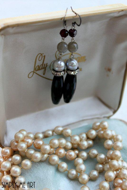 Onyx Pearl Gemstone Garnet and Rhinestone Dangle by simplymeart, $32.00