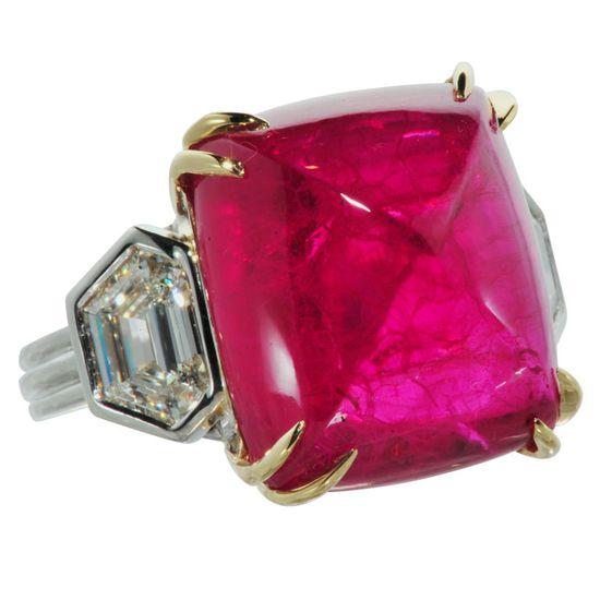 Stunning Sugar Loaf Cabochon Ruby and Diamond Ring