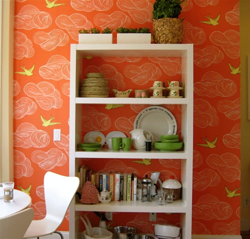 Coral Kitchen by I heart Norwegian Wood. OMG I want to do a white stencil to simulate wallpaper! Maybe baby room? Striped blue/white ceiling, coral back wall with white stencil, faint green solid walls.