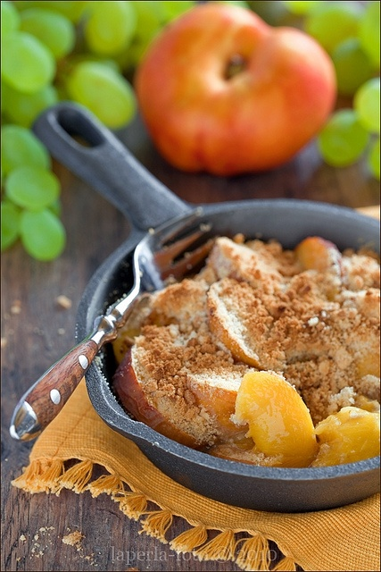 Fresh, comforting, wonderfully homey Nectarine and Lavender Crumble. #fruit #nectarines #lavender #cooking #baking #crumble #summer #autumn #fall #comfortfood