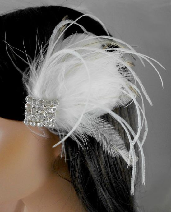 Art Deco Gatsby 1920s Ivory White Bridal Head by parfaitplumes, $32.00