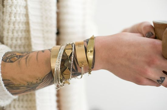 A stack of these stamped brass bracelets would look so chic. $46.00.