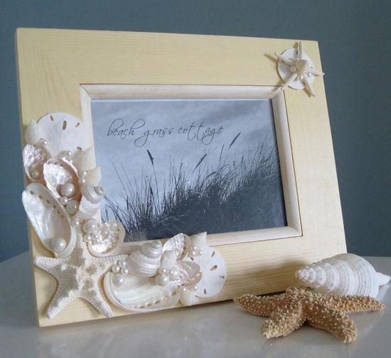 Beach Seashell Frame - Nautical Home Decor Shell Frame in Ivory, 8x10