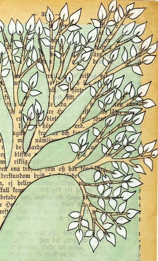 Loved this - make with old book pages and use paint chips for the leaves.  YES!