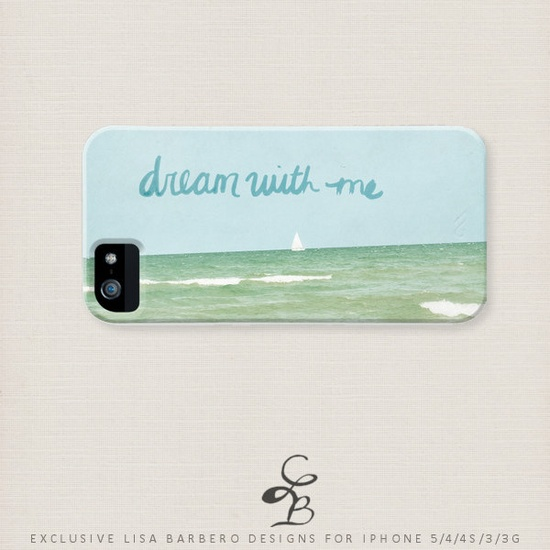 Designer iPhone 5 Case - Dream with Me - Beach Chic, Ocean, Inspirational Illustrated iPhone 5 Hard Case, iPhone 4 Case, iPhone 3G Case.