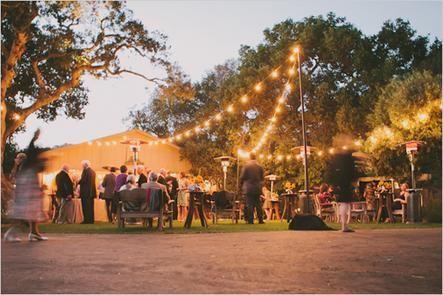 Outdoor wedding reception lighting
