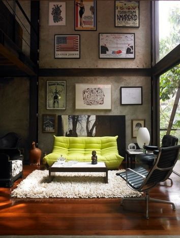 Green sofa ~ Gallery wall
