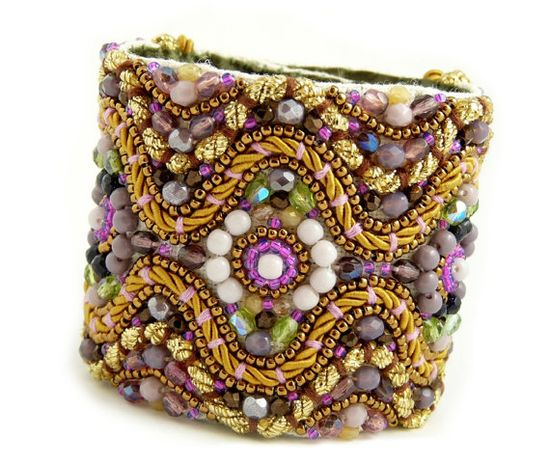 Kotys - Ornate Purple/Amethyst/Lilac and Gold Statement Cuff