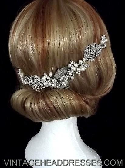 Vintage 1920s art deco floral bridal hair vine, wedding hair accessory - bridal accessories. £235.00, via Etsy.