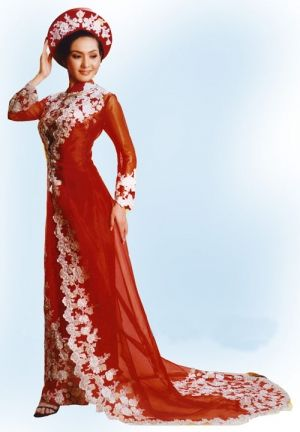 Wedding Ao Dai: I like this, but I would want the colors to be reversed.