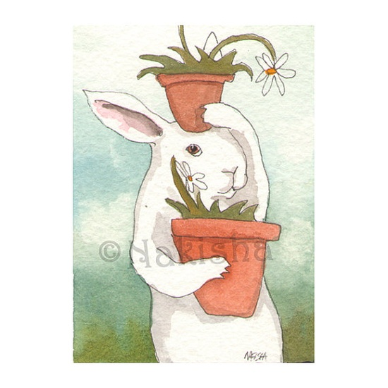Original Watercolor Rabbit Painting  Bunny with by bluedogrose, $12.00