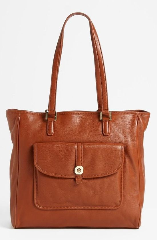 A classic leather tote by Tory Burch.