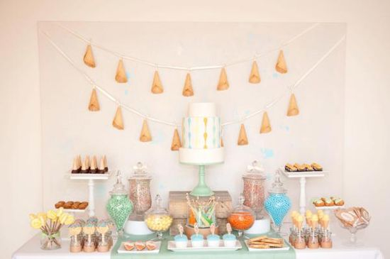 Ice Cream Birthday Party via Kara's Party Ideas. Love the hanging ice cream cone banner! www.KarasPartyIde...