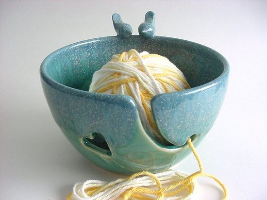 "Yarn bowl....handmade pottery by ""alispots"" from her Esty site"