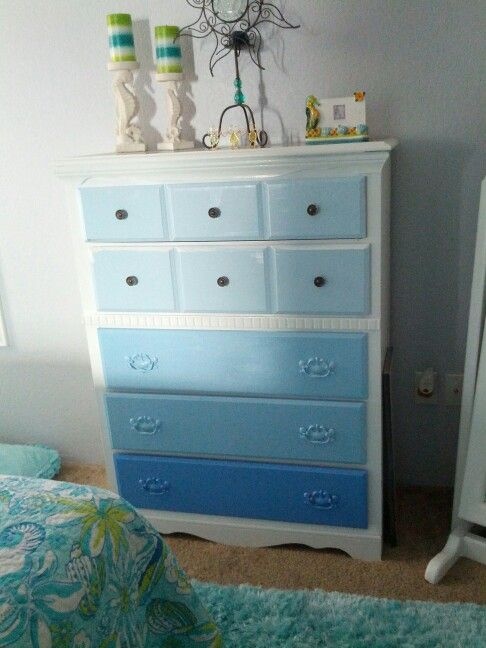 Ombre dresser * beach bedroom * coastal bedroom decor