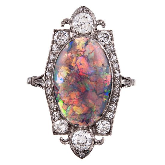 Once-in-a-Lifetime Art Deco Opal & Diamond Plaque Ring, ca 1925.