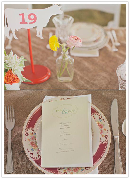 custom printed menus and farm animal table number