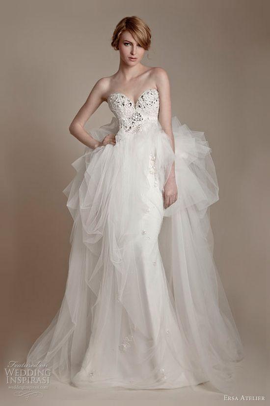 ersa atelier 2013 strapless wedding dress swarovski crystal bodice