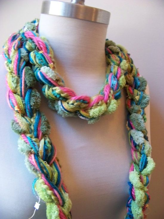 large crochet chain of a bunch of different yarns