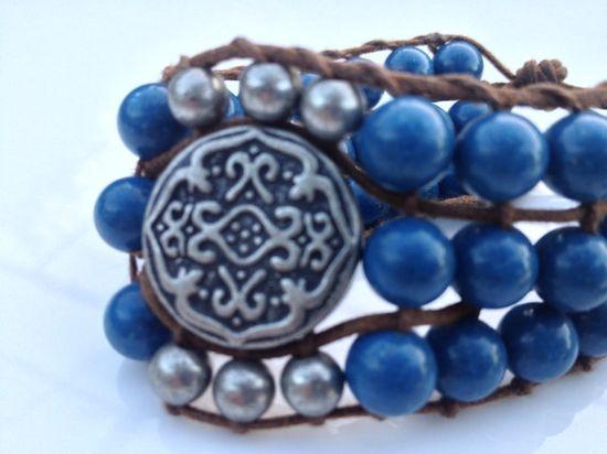 Beautiful Blue Turquoise Gemstone Bracelet by SilviaLaViola on Etsy, $50.00 #handmade #onfireteam #lacwe #jewelry #bracelet
