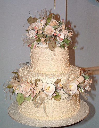 Blush Peach floral wedding cake