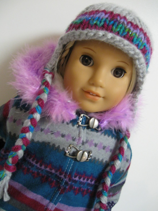 American Girl Doll - Its Cold Outside- Lilac/Blue  Print.  via Etsy.