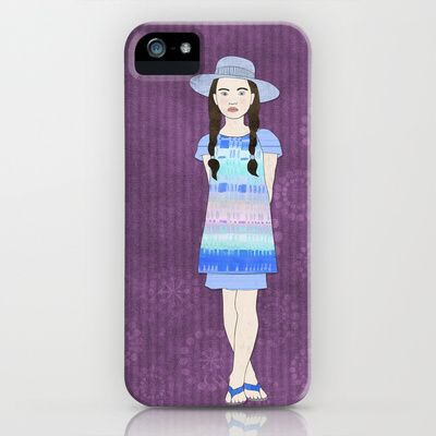 Natalia iPhone & iPod Case by Aquamarine Studio - $35.00 Girl, Hispanic,  youth, pre-teen, fashion, illustration, fashion design, maiden, female, person, virgin, model, dress, shoes, clothes, apparel, outfit, wardrobe, attire, clothing, pose, summer, digital, paper, collage